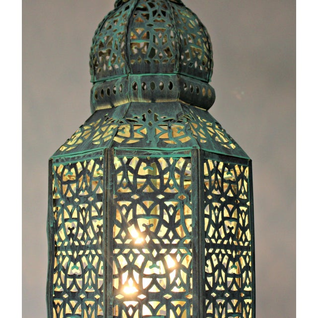 Turquoise Moroccan Style Hanging Lantern For Sale - Image 8 of 9