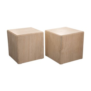 Pair of Travertine Cube Tables For Sale