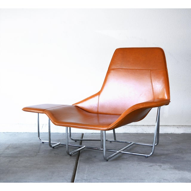 Modern Leather and Chrome Chaise Lounge Chair by Mark David Design For Sale - Image 13 of 13