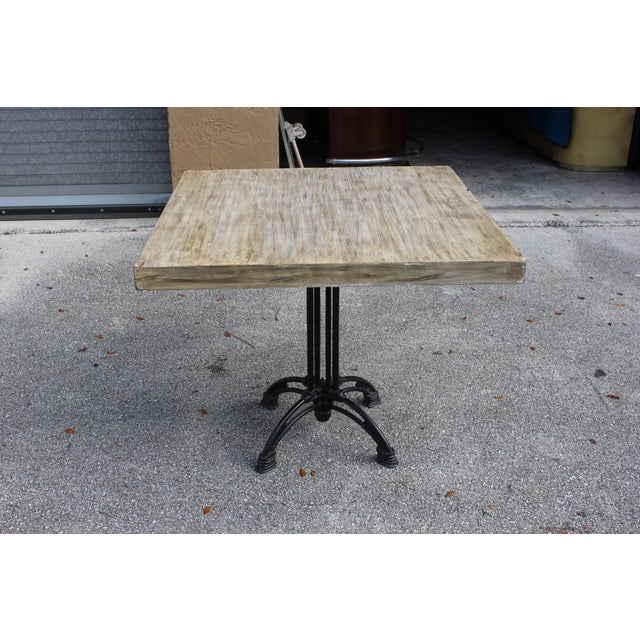 Black 1920s French Country Cast Iron Base Walnut Top Dining / Bistro Table For Sale - Image 8 of 13