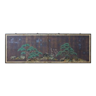 Japanese Four-Panel Screen Three Friends of Winter For Sale