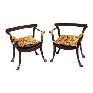 18th C Style Roman Gilt-Wood Designer Trestle Chairs - a Pair For Sale