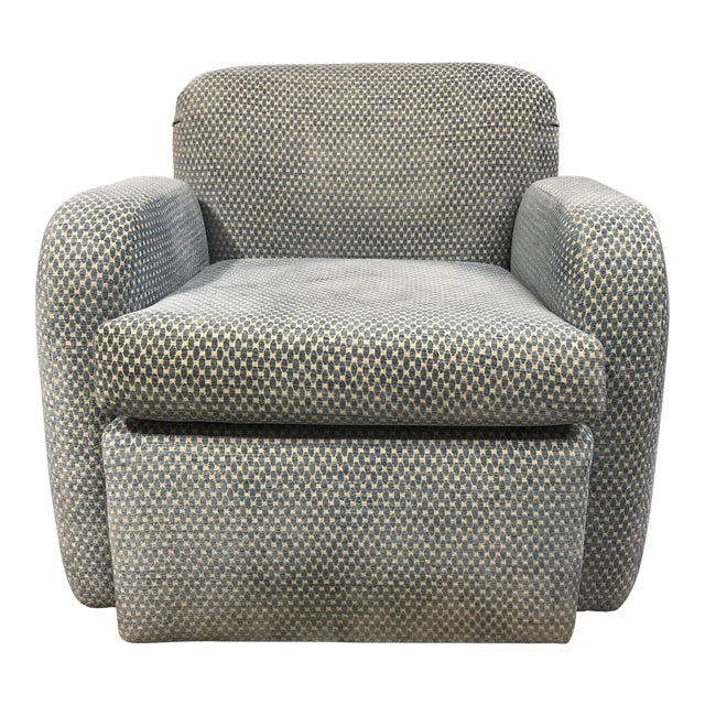 Steve Chase Swivel Blue Arm Chair For Sale
