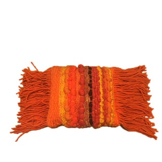 Boho Chic Handwoven Fringed Throw Pillow in Orange & Autumn Colors For Sale