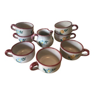 Gump's Italian Hand Painted Cups & Creamer - Set of 8 For Sale