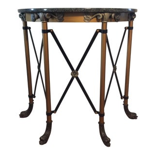 Neoclassical Demi Luna Green Marble Top Gueridon Console Table With Koi Fish Feet For Sale