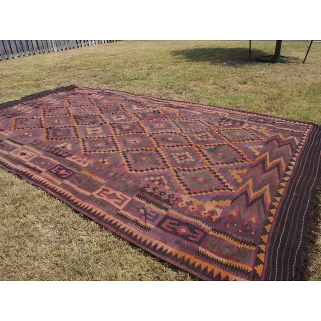 "Purple Diamond Kilim Rug - 8'8"" x 15'1"" - Image 4 of 11"