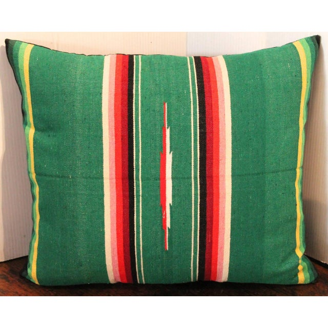 Primitive Mexican American Handwoven Serape Pillow For Sale - Image 3 of 4