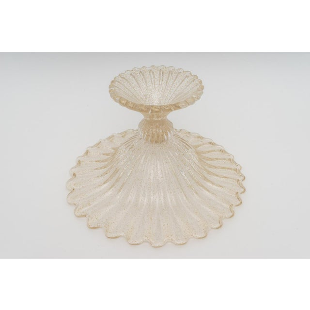 Gold Flecks Murano Glass Footed Compote For Sale In West Palm - Image 6 of 10