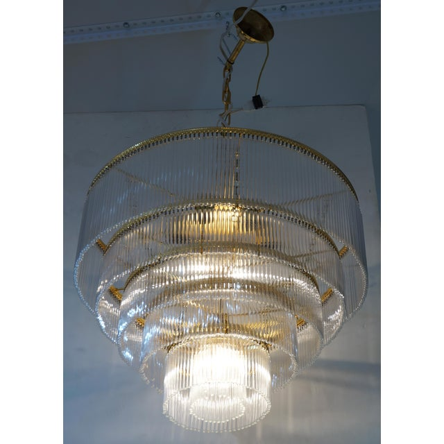 Mid-Century Scolari Murano 7-Light Tiered Glass Tubes Chandelier from a Palm Beach estate There are 6 lights o the top...