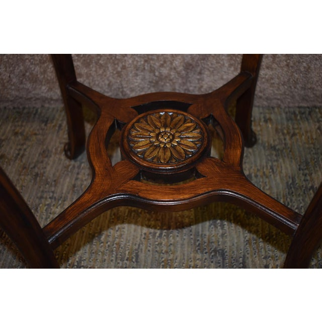 1950s French Carved & Inlaid Accent Table For Sale - Image 10 of 13