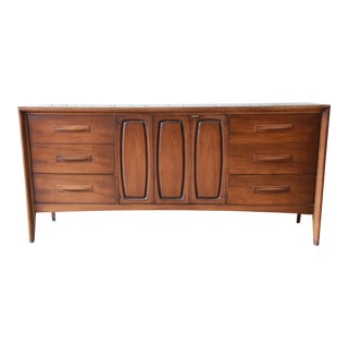 Broyhill Emphasis Mid-Century Modern Sculpted Walnut Triple Dresser Credenza For Sale