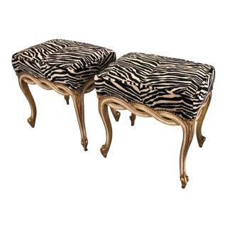 Regency Style Ribbon Taboret Bench W Dessin Fournir Zebra Velvet by Randy Esada Designs - a Pair For Sale
