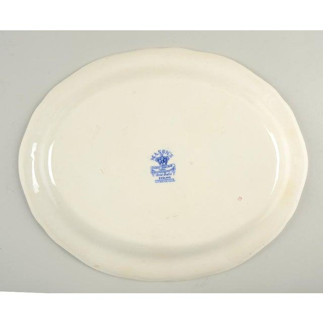 "Mason's Bow Bells Blue 13"" Oval Serving Platter For Sale - Image 4 of 6"