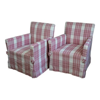Early 20th Century French Art Deco Plaid Skirted Chairs- a Pair For Sale