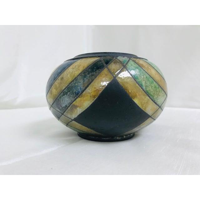 Boho Chic Vintage Studio Luster & Matte Pottery Table Vase For Sale - Image 3 of 8