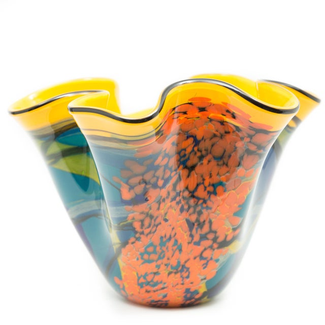 Contemporary Ioan Nemtoi Very Large Floriform Napkin Contemporary Art Glass Signed Vase For Sale - Image 3 of 7