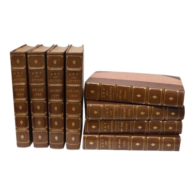 """Eight Volume Set of Leather Bound Books Titled """"Art and Letters"""" From the 19th Century For Sale"""
