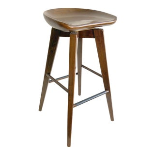 New Wooden Barstool With Swivel Seat and Dark Stain Finish
