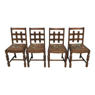 Early 20th Century Vintage Arts and Crafts Oak Chairs- Set of 4 For Sale