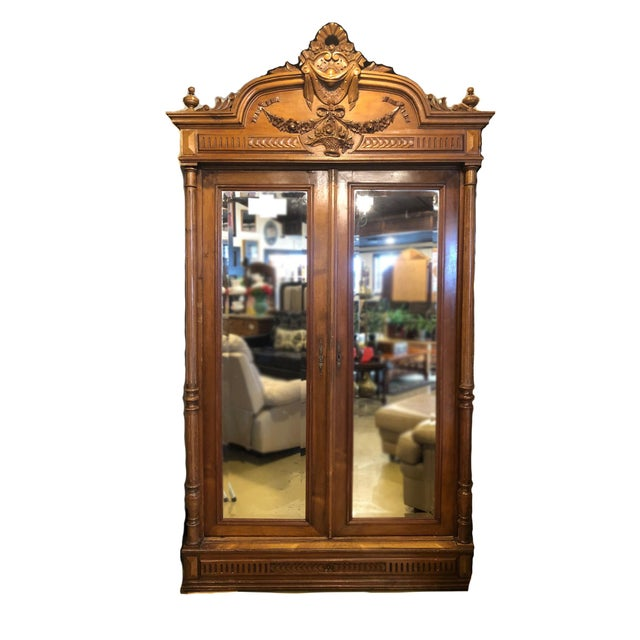 1900 - 1909 Antique French Mirrored Door Armoire For Sale - Image 5 of 5