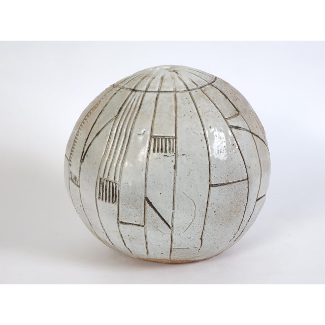 Ceramic Large Heavy Art Pottery Spherical Vase For Sale - Image 7 of 9