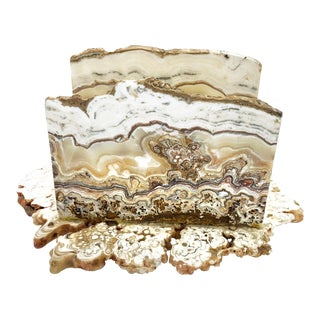 Vintage Hand Made Natural Onyx Marble Stone Napkin Holder With Raw Edges For Sale