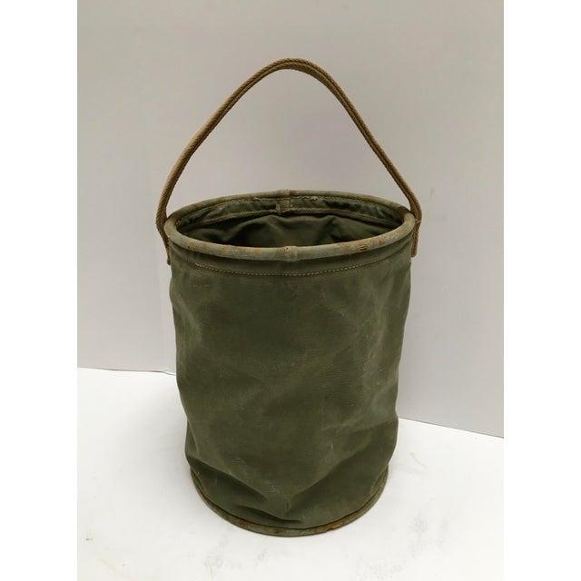 Mid-Century Modern Vintage World War II 1944 Canvas Water Bucket For Sale - Image 3 of 9