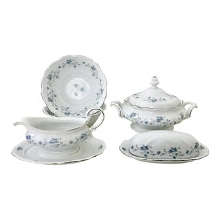 1950's German Johann Haviland Porcelain & Platinum Serving Set - 7 Pieces For Sale