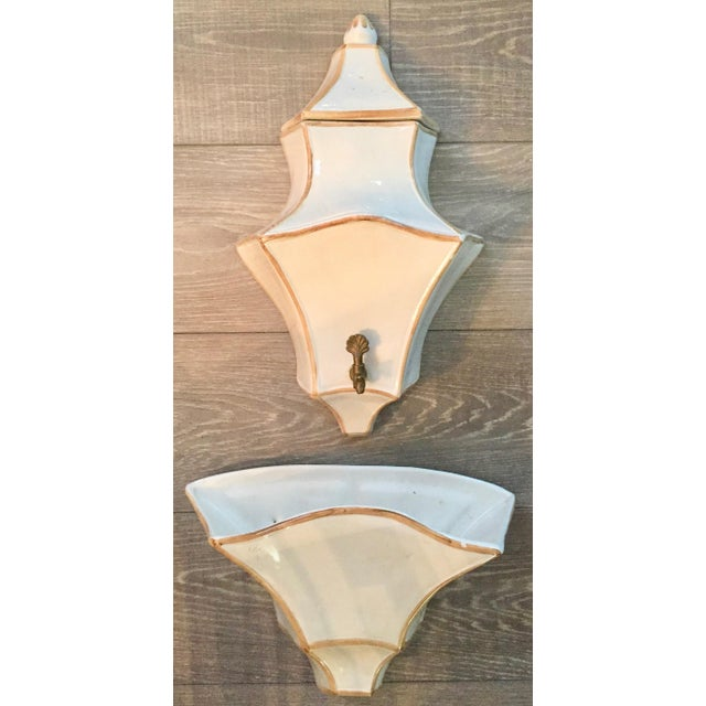 1970s Vintage Italian Ceramic Lavabo-3 Pieces For Sale - Image 10 of 10