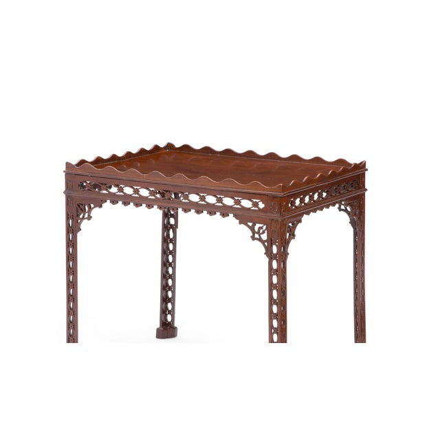 Georgian Antique 18th C George III Mahogany Fret Carved Silver Table For Sale - Image 3 of 4