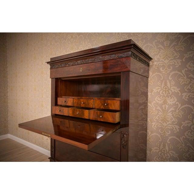 Wood Biedermeier Mahogany Secretary Desk, circa 1860, after Renovation For Sale - Image 7 of 9