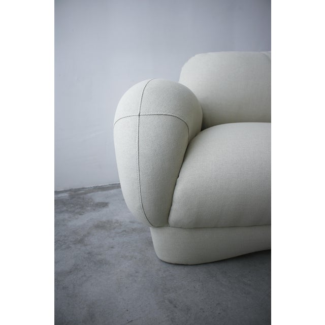 Cream 2 Piece Curved Post Modern Sofa by Preview Furniture For Sale - Image 8 of 9