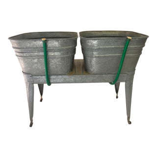 Vintage Country Double Galvanized Wash Tub With Stand For Sale
