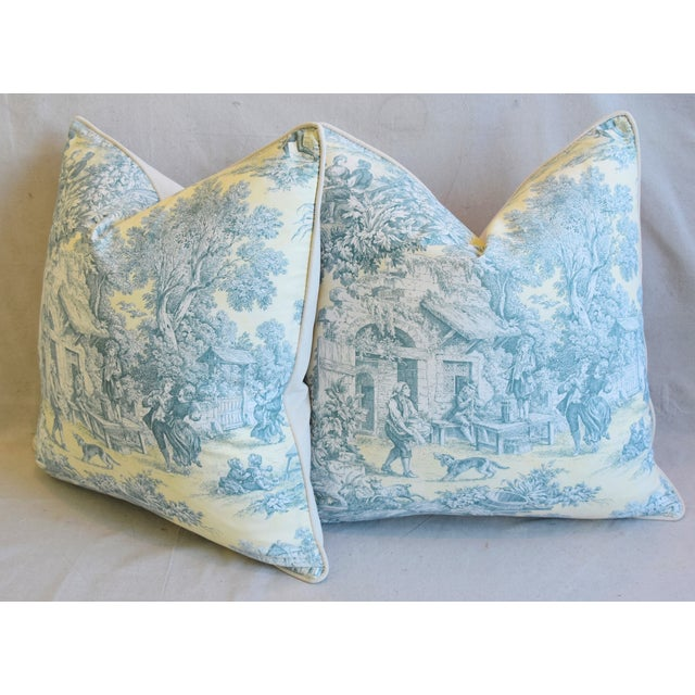 """French Farmhouse Country Toile Feather/Down Pillows 24"""" Square - Pair For Sale - Image 9 of 13"""