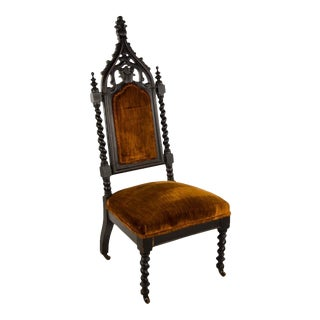 Late 19th Century Gothic Revival Upholstered Throne Side Chair For Sale