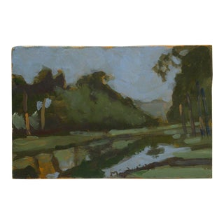 "Original Signed Frederick McDuff Painting on Board ""By the Pond"""