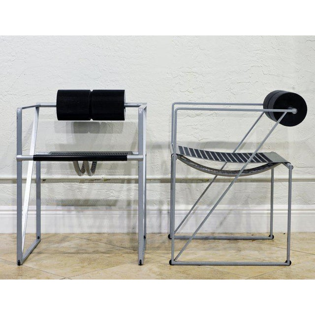 Abstract Pair of Seconda 602 Armchairs Designed by Architect Mario Botta for Alias, Italy For Sale - Image 3 of 13