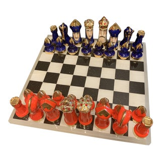 Mid Century Chess Set on Marble Board For Sale