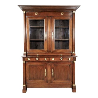19th Century French Empire Period Walnut Bibliotheque or Bookcase For Sale