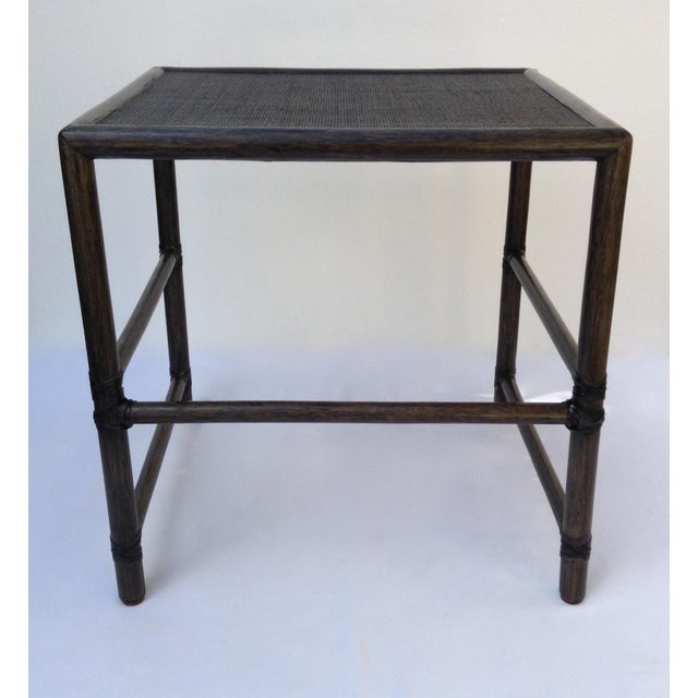1990s McGuire Leather Strapped Rattan & Cane Side Table For Sale - Image 5 of 11