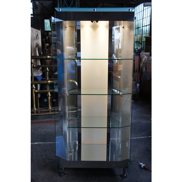 1990s Vintage Chrome Illuminated Modern Display Cabinet For Sale - Image 12 of 13