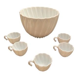 1950's Hazel Atlas Milk Glass Punch Bowl Set For Sale