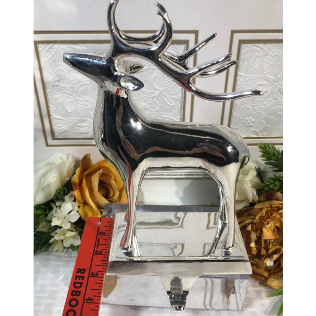 Silver Vintage Solid Reindeer Stocking Hooks Silver Plated Pair For Sale - Image 8 of 10