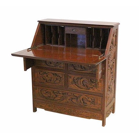 Vintage Hand Carved Chinese Desk W/Drop Down Front - Image 1 of 5