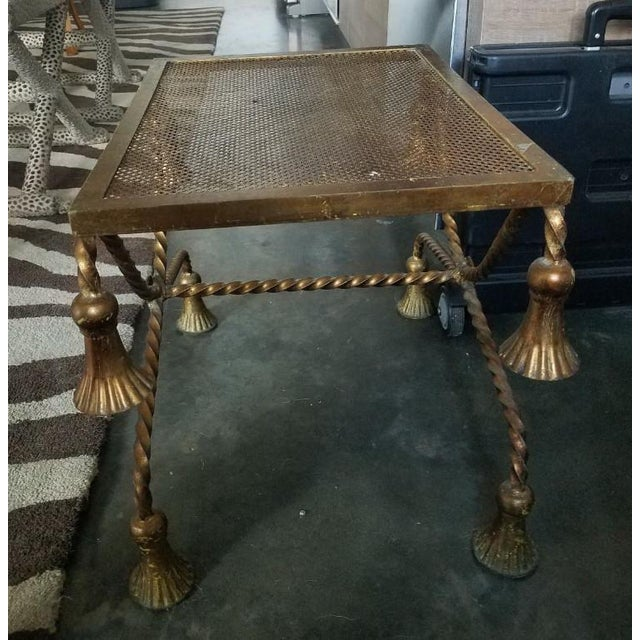 1960s Hollywood Regency Italian Gilt Tole Rope Tassel Bench For Sale - Image 5 of 9
