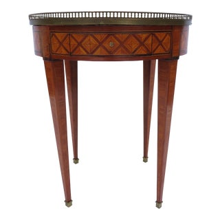 A Louis XVI Style Bouillotte Table, Parquetry W/ White Marble / Gueridon Antique For Sale