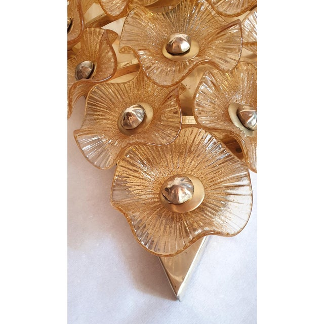 Large Mid-Century Modern Murano Glass Sconces/Flush Mounts Attr to Venini - a Pair For Sale - Image 9 of 11