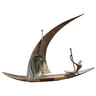 Hagenauer Werkstätte Sailboat Chrome Sculpture For Sale