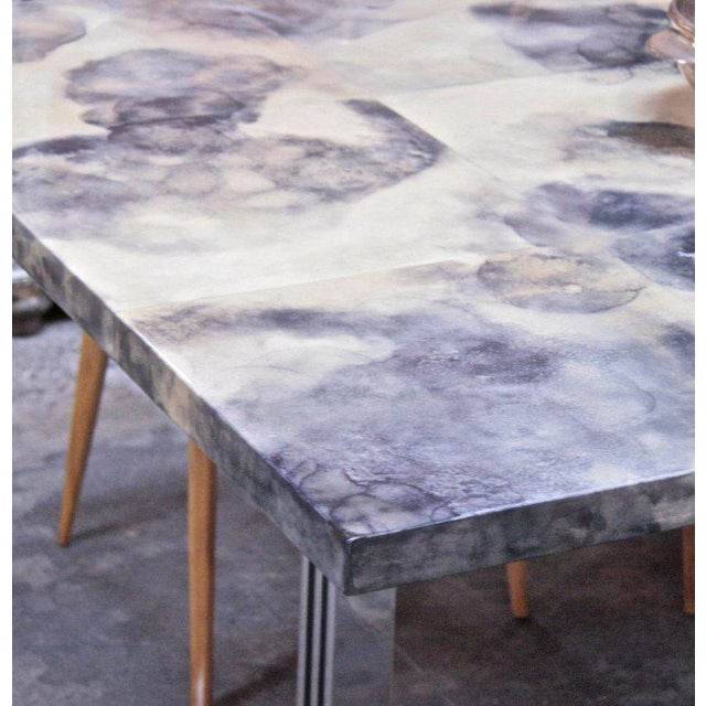 Metal Parchment and Resin Dining Table with Stainless Steel Base For Sale - Image 7 of 9